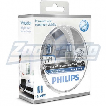 Купить галогенные лампы H1 12V 55W Philips WhiteVision +60% в Нижнем Новгороде