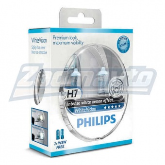 Купить галогенные лампы H7 12V 55W Philips WhiteVision +60% в Нижнем Новгороде