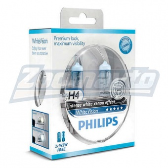 Купить галогенные лампы H4 12V 60/55W Philips WhiteVision +60% в Нижнем Новгороде